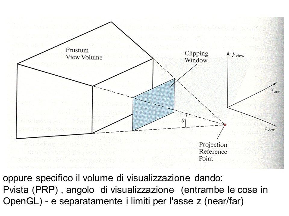 oppure specifico il volume di visualizzazione dando: Pvista (PRP), angolo di visualizzazione (entrambe le cose in OpenGL) - e separatamente i limiti p