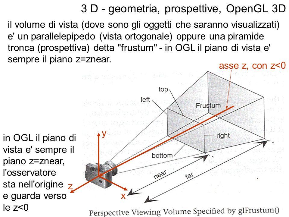 il volume di vista (dove sono gli oggetti che saranno visualizzati) e' un parallelepipedo (vista ortogonale) oppure una piramide tronca (prospettiva)