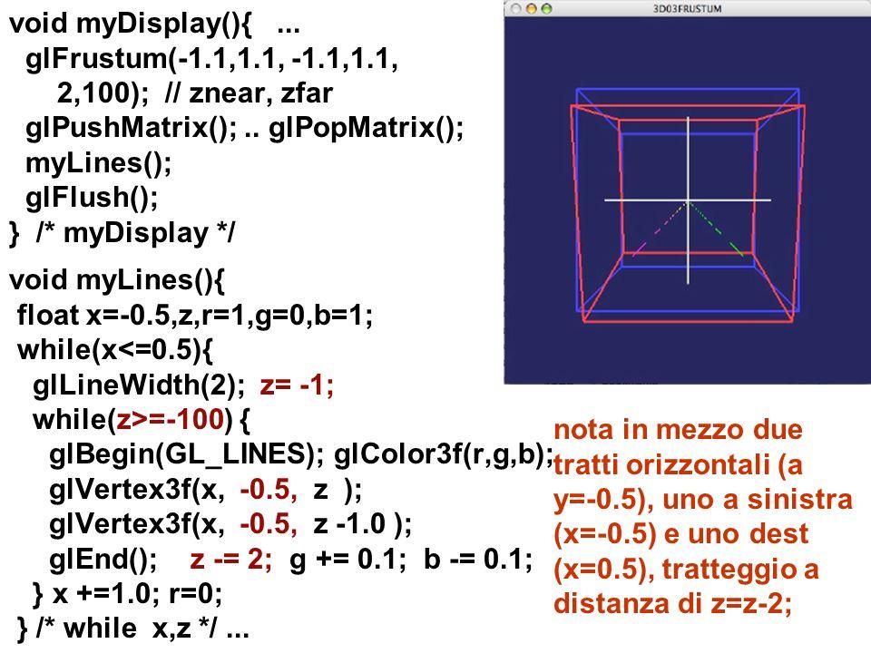 void myDisplay(){... glFrustum(-1.1,1.1, -1.1,1.1, 2,100); // znear, zfar glPushMatrix();.. glPopMatrix(); myLines(); glFlush(); } /* myDisplay */ voi