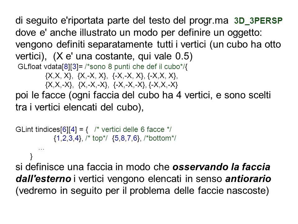 di seguito e'riportata parte del testo del progr.ma 3D_3PERSP dove e' anche illustrato un modo per definire un oggetto: vengono definiti separatamente