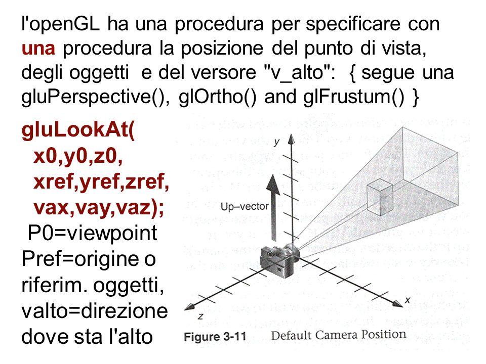 l'openGL ha una procedura per specificare con una procedura la posizione del punto di vista, degli oggetti e del versore