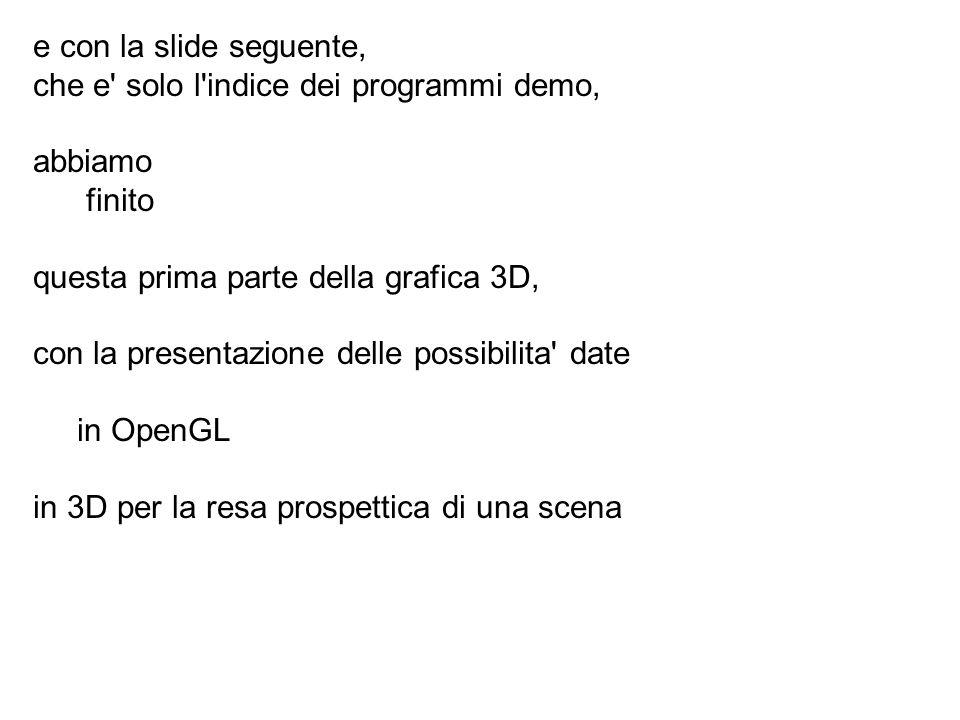e con la slide seguente, che e' solo l'indice dei programmi demo, abbiamo finito questa prima parte della grafica 3D, con la presentazione delle possi