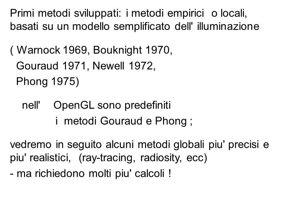 Primi metodi sviluppati: i metodi empirici o locali, basati su un modello semplificato dell' illuminazione ( Warnock 1969, Bouknight 1970, Gouraud 197
