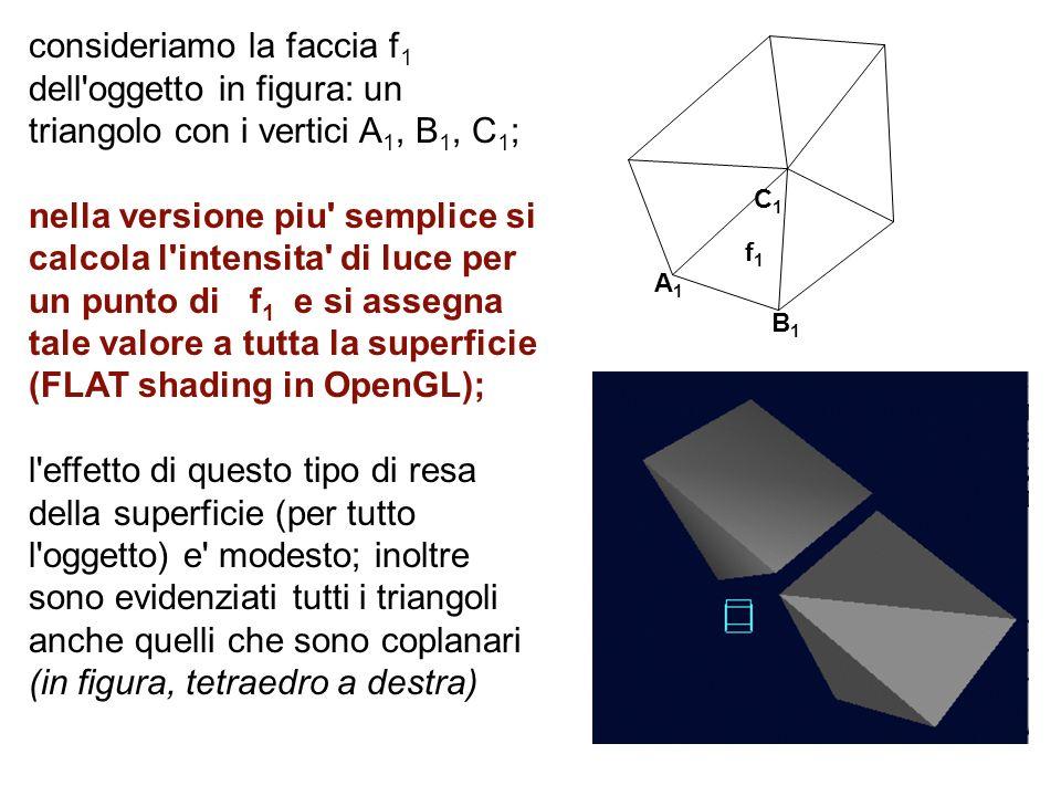 A1A1 f1f1 C1C1 B1B1 consideriamo la faccia f 1 dell'oggetto in figura: un triangolo con i vertici A 1, B 1, C 1 ; nella versione piu' semplice si calc