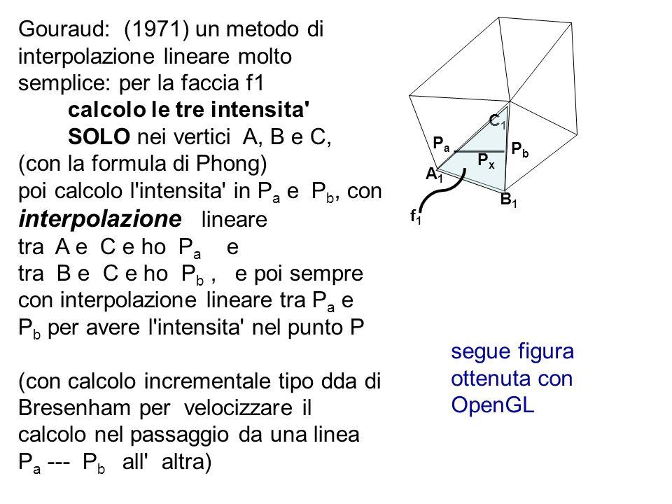 Gouraud: (1971) un metodo di interpolazione lineare molto semplice: per la faccia f1 calcolo le tre intensita' SOLO nei vertici A, B e C, (con la form