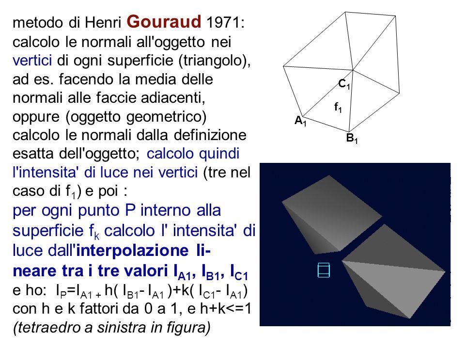 metodo di Henri Gouraud 1971: calcolo le normali all'oggetto nei vertici di ogni superficie (triangolo), ad es. facendo la media delle normali alle fa