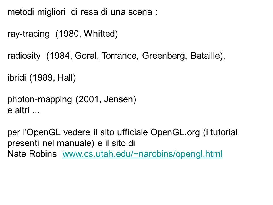 metodi migliori di resa di una scena : ray-tracing (1980, Whitted) radiosity (1984, Goral, Torrance, Greenberg, Bataille), ibridi (1989, Hall) photon-