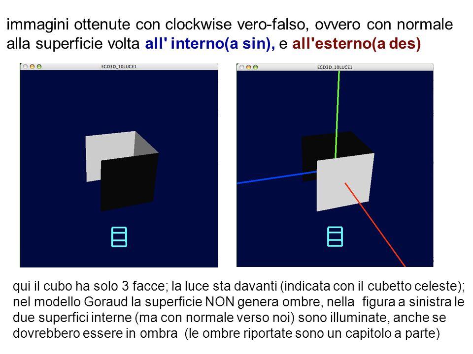 immagini ottenute con clockwise vero-falso, ovvero con normale alla superficie volta all' interno(a sin), e all'esterno(a des) qui il cubo ha solo 3 f