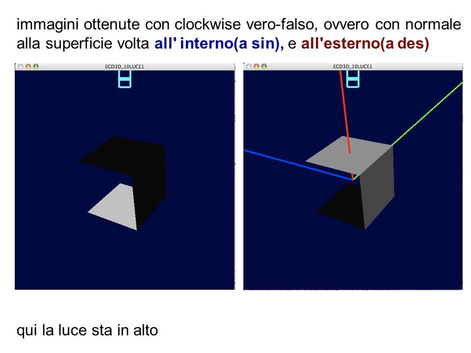 immagini ottenute con clockwise vero-falso, ovvero con normale alla superficie volta all' interno(a sin), e all'esterno(a des) qui la luce sta in alto