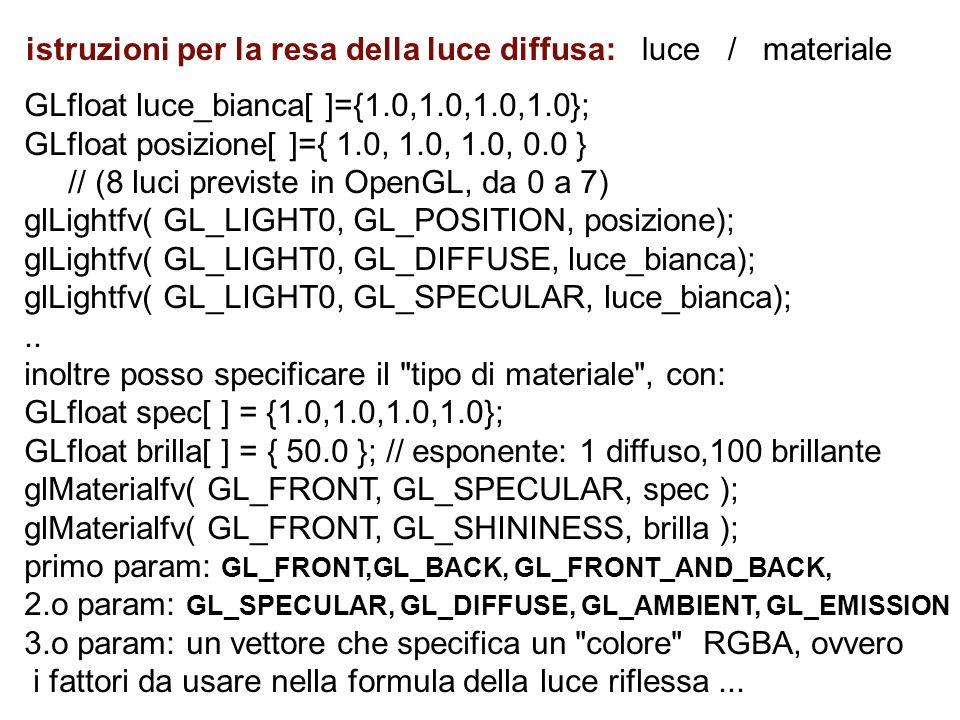 GLfloat luce_bianca[ ]={1.0,1.0,1.0,1.0}; GLfloat posizione[ ]={ 1.0, 1.0, 1.0, 0.0 } // (8 luci previste in OpenGL, da 0 a 7) glLightfv( GL_LIGHT0, G
