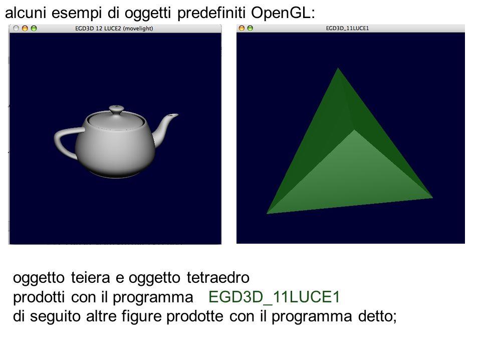 alcuni esempi di oggetti predefiniti OpenGL: oggetto teiera e oggetto tetraedro prodotti con il programma EGD3D_11LUCE1 di seguito altre figure prodot
