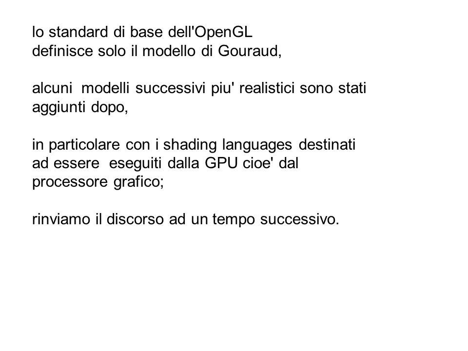 lo standard di base dell'OpenGL definisce solo il modello di Gouraud, alcuni modelli successivi piu' realistici sono stati aggiunti dopo, in particola