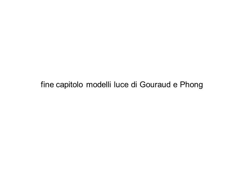 fine capitolo modelli luce di Gouraud e Phong