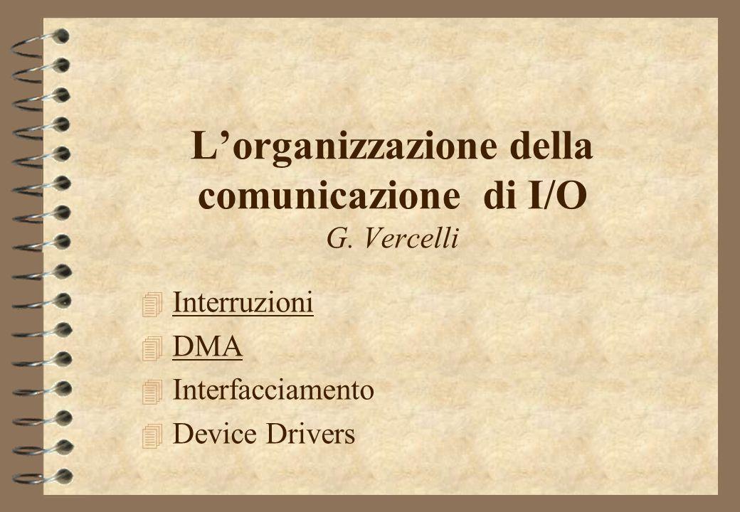 Lorganizzazione della comunicazione di I/O G. Vercelli 4 Interruzioni 4 DMA 4 Interfacciamento 4 Device Drivers