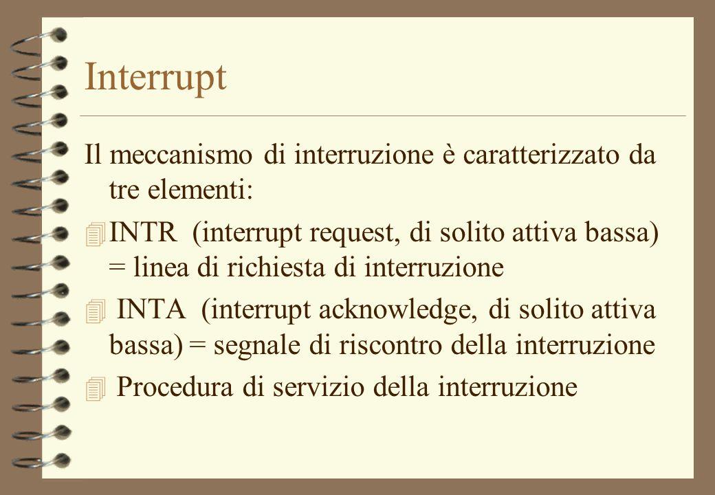 Interrupt Il meccanismo di interruzione è caratterizzato da tre elementi: 4 INTR (interrupt request, di solito attiva bassa) = linea di richiesta di i