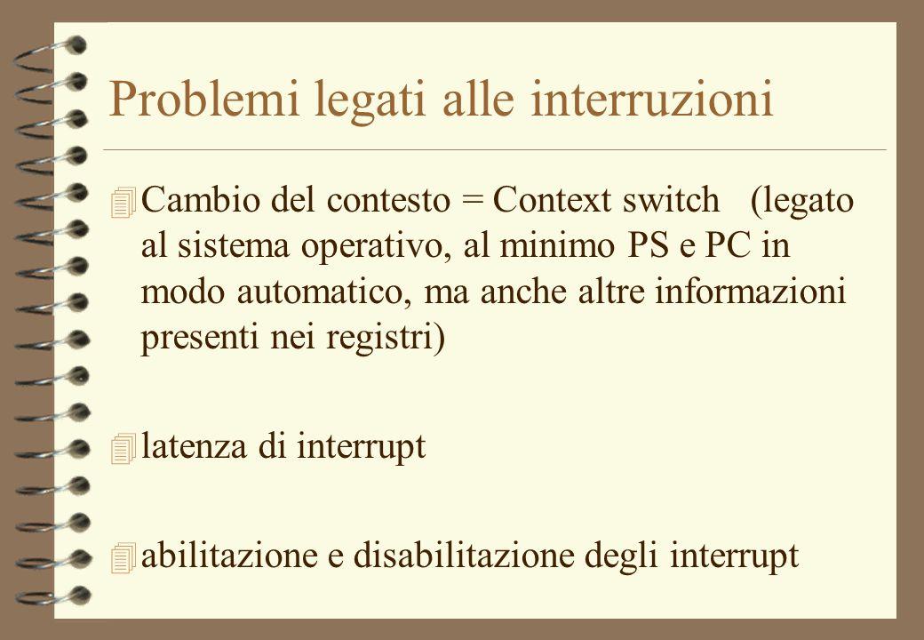 Problemi legati alle interruzioni 4 Cambio del contesto = Context switch (legato al sistema operativo, al minimo PS e PC in modo automatico, ma anche