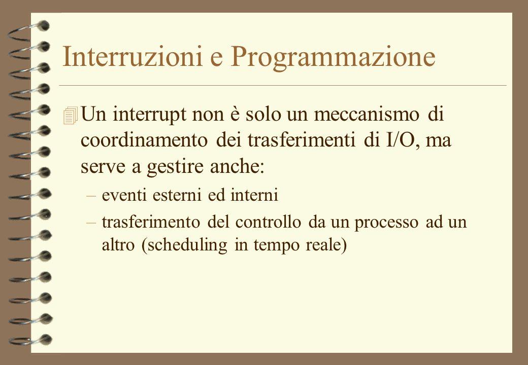 Interruzioni e Programmazione 4 Un interrupt non è solo un meccanismo di coordinamento dei trasferimenti di I/O, ma serve a gestire anche: –eventi est
