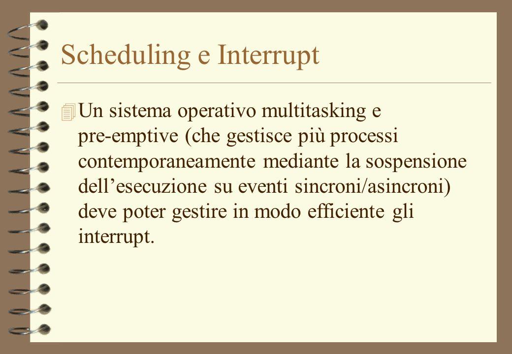 Scheduling e Interrupt 4 Un sistema operativo multitasking e pre-emptive (che gestisce più processi contemporaneamente mediante la sospensione dellese