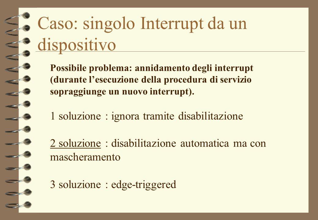 Caso: singolo Interrupt da un dispositivo Possibile problema: annidamento degli interrupt (durante lesecuzione della procedura di servizio sopraggiung