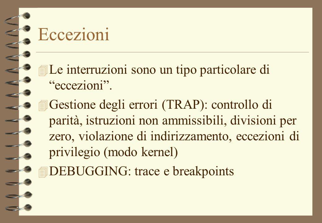 Eccezioni 4 Le interruzioni sono un tipo particolare di eccezioni. 4 Gestione degli errori (TRAP): controllo di parità, istruzioni non ammissibili, di