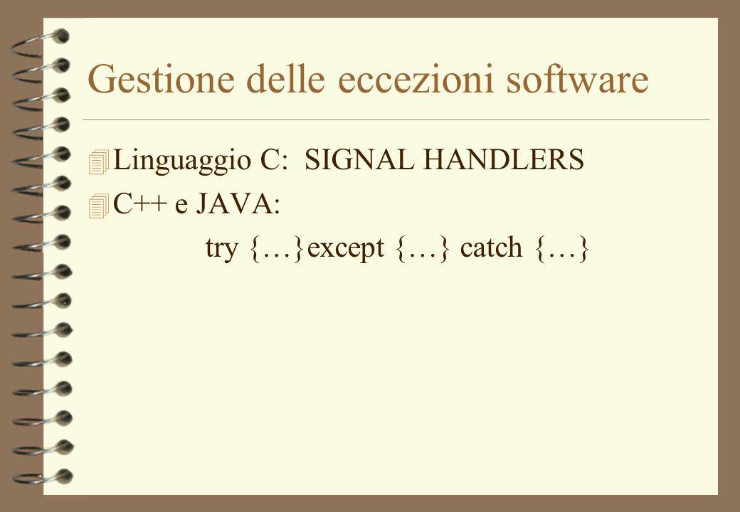 Gestione delle eccezioni software 4 Linguaggio C: SIGNAL HANDLERS 4 C++ e JAVA: try {…}except {…} catch {…}