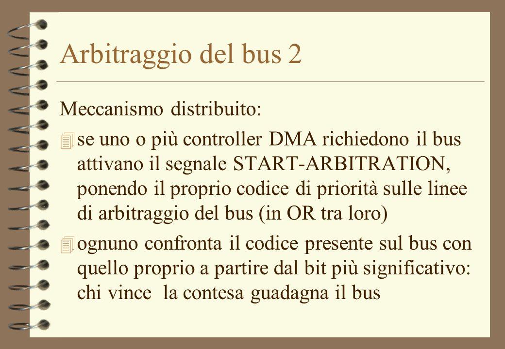Arbitraggio del bus 2 Meccanismo distribuito: 4 se uno o più controller DMA richiedono il bus attivano il segnale START-ARBITRATION, ponendo il propri