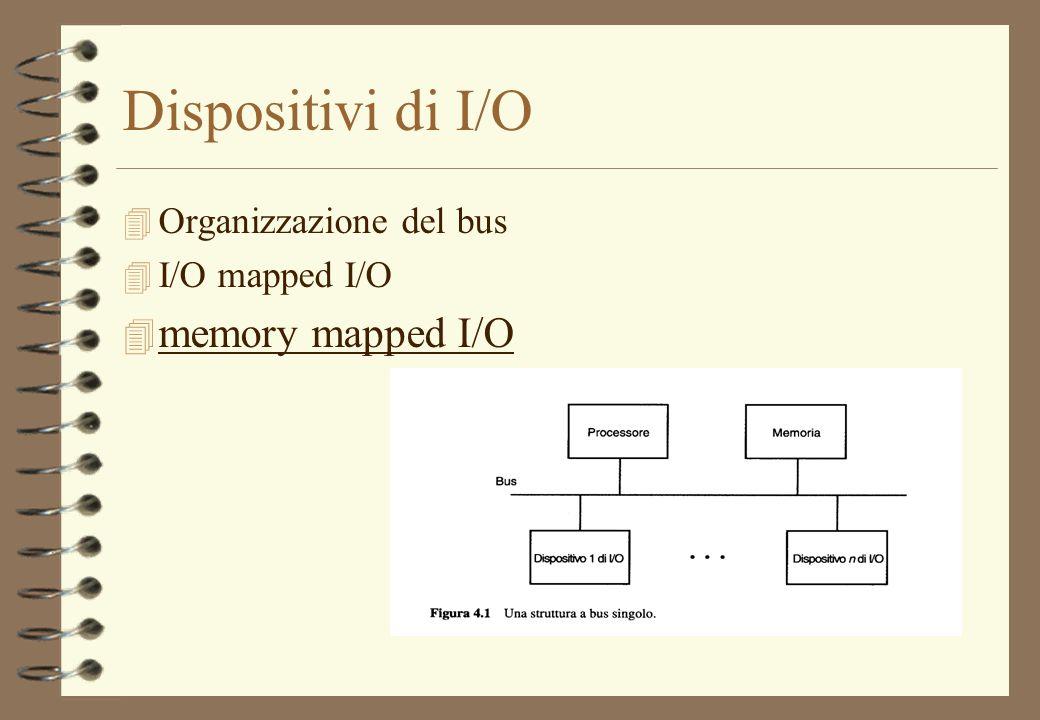 Dispositivi di I/O 4 Organizzazione del bus 4 I/O mapped I/O 4 memory mapped I/O