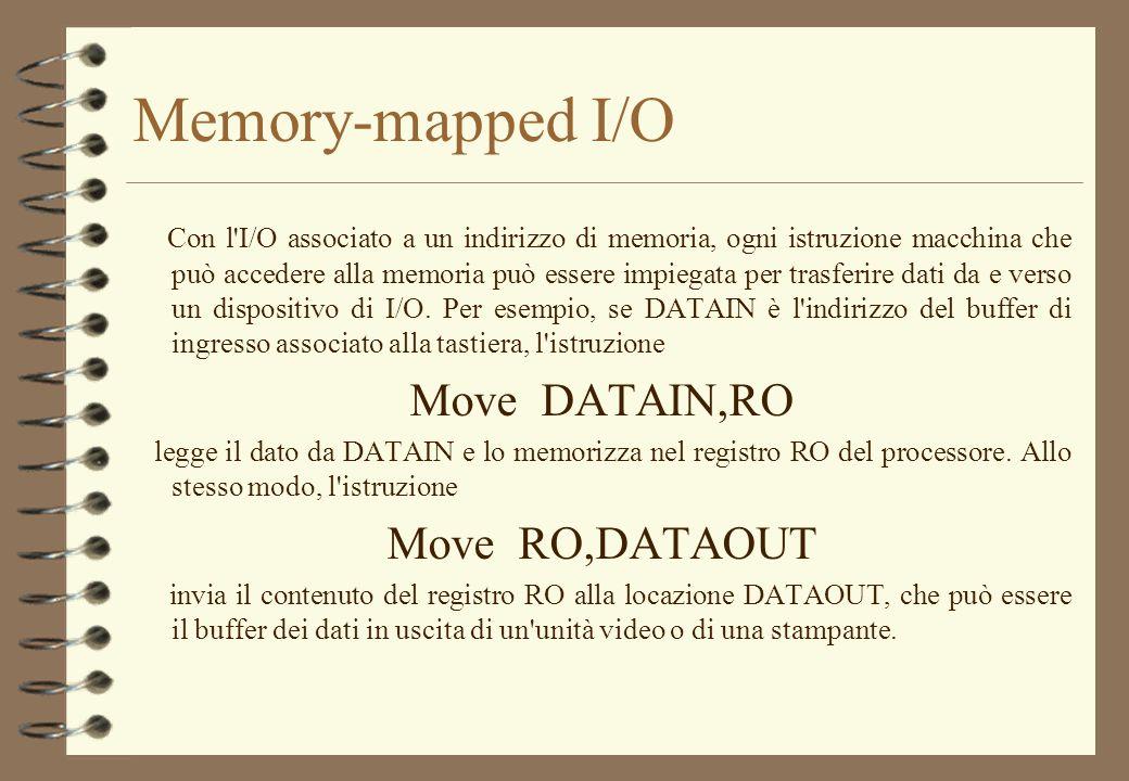 Memory-mapped I/O Con l'I/O associato a un indirizzo di memoria, ogni istruzione macchina che può accedere alla memoria può essere impiegata per trasf