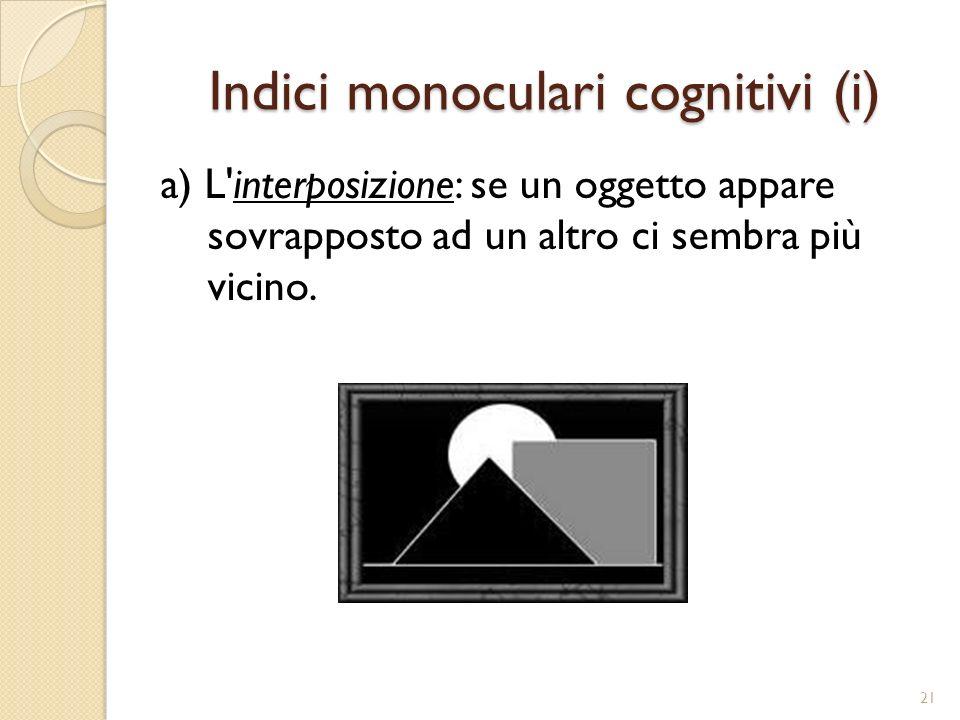 Indici monoculari cognitivi (ii) b) L elevazione: più un oggetto è vicino alla linea dell orizzonte più ci sembra lontano.
