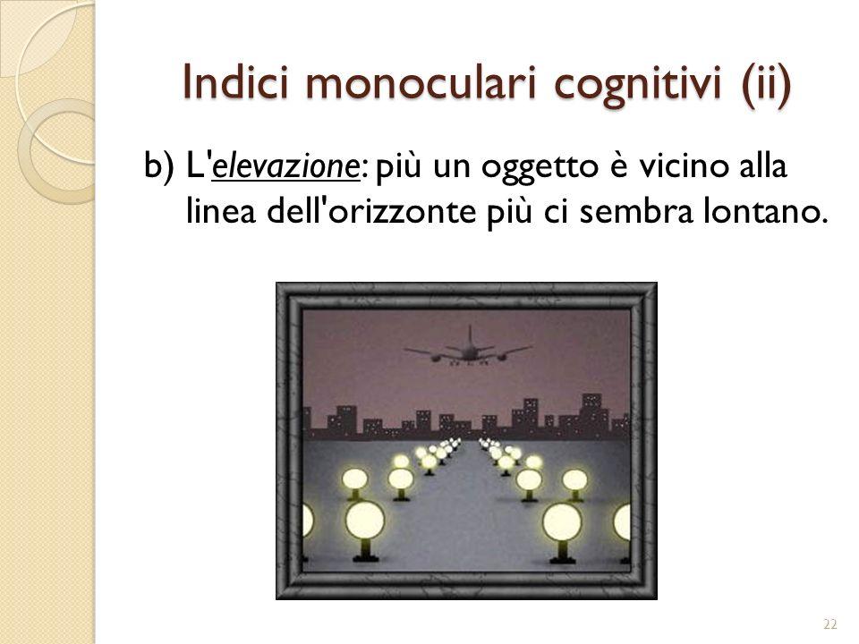 Indici monoculari cognitivi (iii) c) L ombreggiatura: le ombre danno sempre un impressione di profondità.