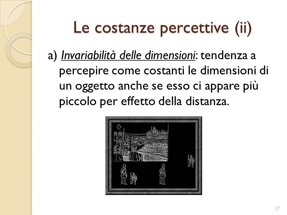 Le costanze percettive (ii) b) Invariabilità della forma: a dispetto delle variazioni subite dall angolo di visualizzazione la forma resta costante.