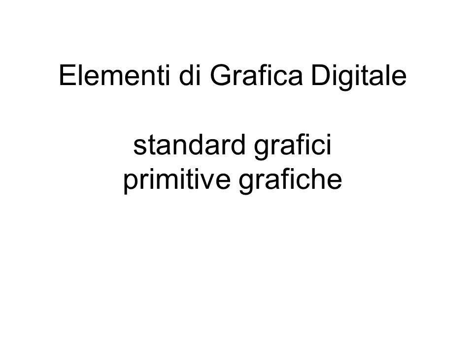 grafica raster, parte software: librerie standardizzate: GKS (Graphical Kernel System) (primo standard ISO e ANSI) GKS 3D PHIGS (Programmer s Hierarchical Interactive Graphics Standard Open GL (Open Silicon Graphics Graphical Library) Open GL 2 (vedi rete, http://www.sgi.com/products/software/opengl/...