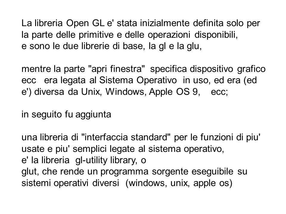 La libreria Open GL e' stata inizialmente definita solo per la parte delle primitive e delle operazioni disponibili, e sono le due librerie di base, l