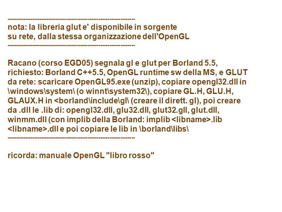 ----------------------------------------------------------------------- nota: la libreria glut e' disponibile in sorgente su rete, dalla stessa organi