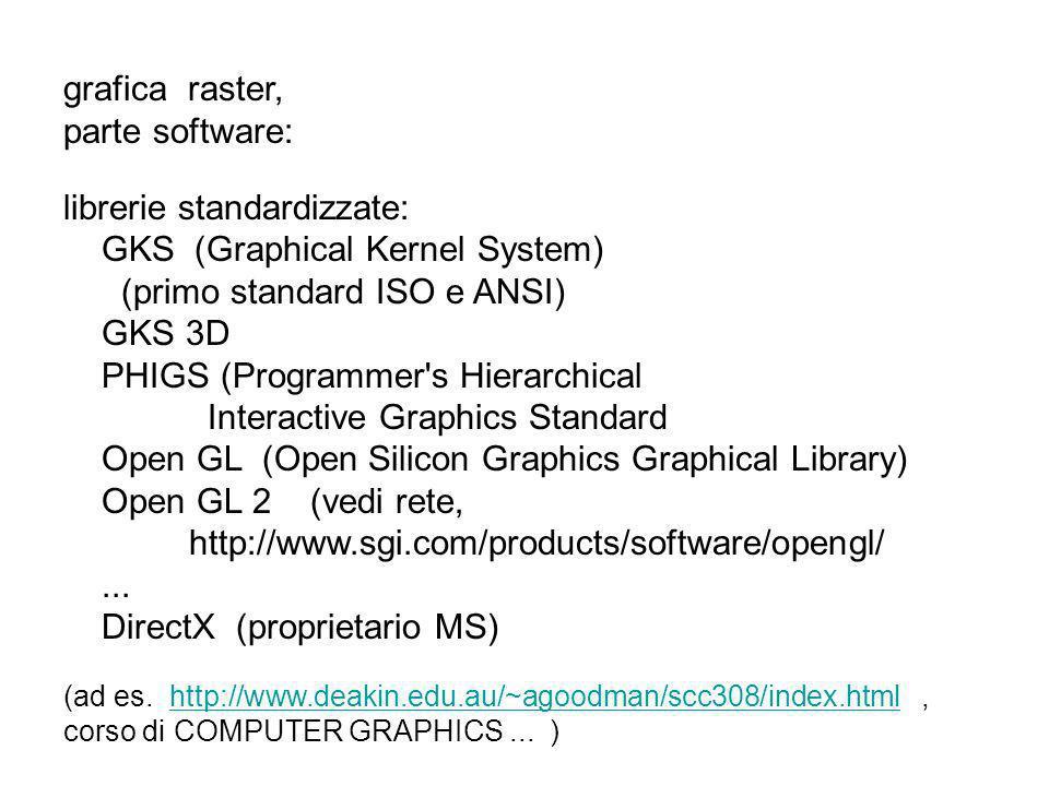 cenno: un bitmap (un reticolo binario) puo essere definito con apposite procedure, a cui per ora solo accenniamo: glBitmap( width, height, x0, y0, x0offset, y0offset, bitShapeArray); dove il bitShapeArray e una tabella di bit compressi, come ad es: GLubyte bitShapeArray[20]={0x1c,0x00,0x1c,..0xff,..0x00}; si deve dare la posizione prima della copia del bit-map, con lal proc glRasterPos*(x,y); dove *(..) sono gli stessi che si possono usare con glVertex*(..) glDrawPixels(width,height,dataFormat,dataType, pixMapArr) copia un array di pixel su schermo, ad es: glDrawPixels(128,128, GL_RGB, GL_UNSIGNED_BYTE, MyColShap);..