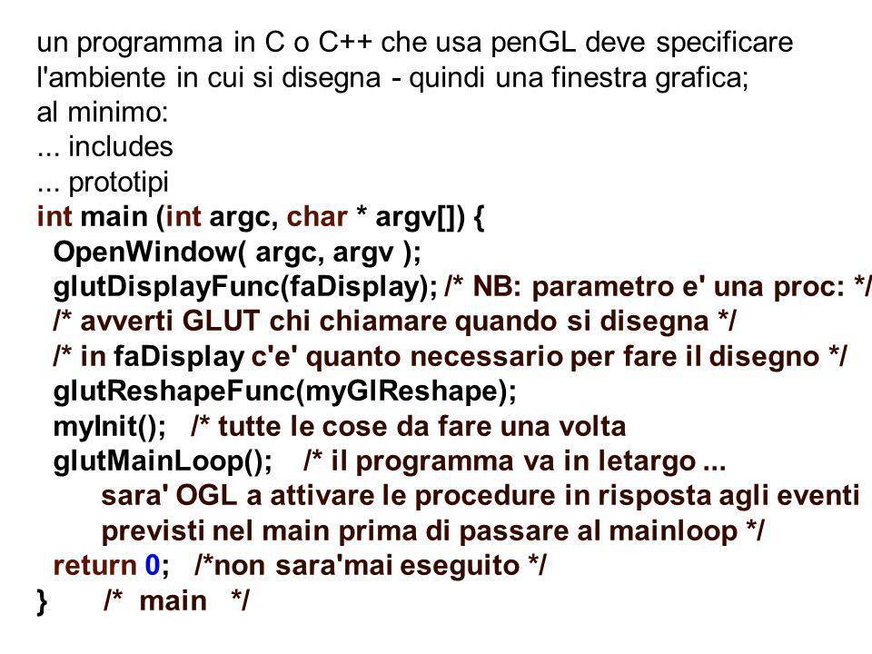 un programma in C o C++ che usa penGL deve specificare l'ambiente in cui si disegna - quindi una finestra grafica; al minimo:... includes... prototipi
