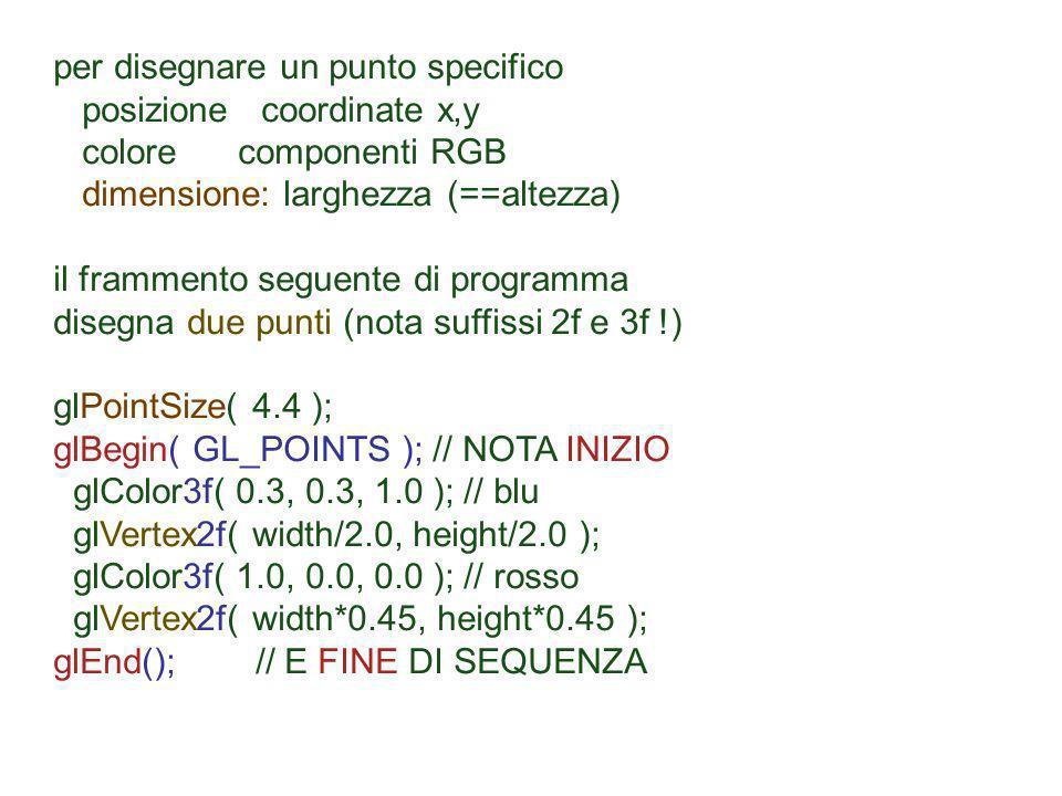 per disegnare un punto specifico posizione coordinate x,y colore componenti RGB dimensione: larghezza (==altezza) il frammento seguente di programma d