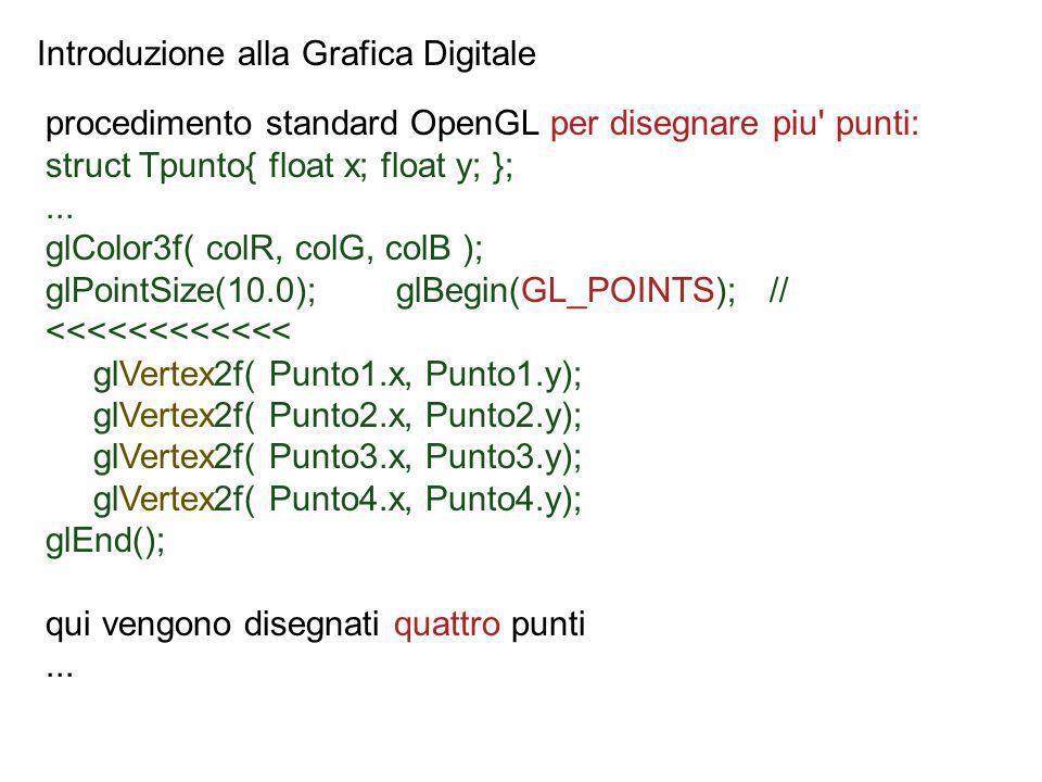 Introduzione alla Grafica Digitale procedimento standard OpenGL per disegnare piu' punti: struct Tpunto{ float x; float y; };... glColor3f( colR, colG