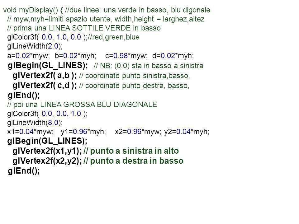 void myDisplay() { //due linee: una verde in basso, blu digonale // myw,myh=limiti spazio utente, width,height = larghez,altez // prima una LINEA SOTT