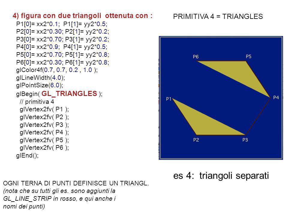 4) figura con due triangoli ottenuta con : P1[0]= xx2*0.1; P1[1]= yy2*0.5; P2[0]= xx2*0.30; P2[1]= yy2*0.2; P3[0]= xx2*0.70; P3[1]= yy2*0.2; P4[0]= xx