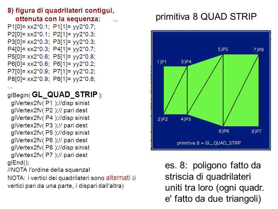 8) figura di quadrilateri contigui, ottenuta con la sequenza:... P1[0]= xx2*0.1; P1[1]= yy2*0.7; P2[0]= xx2*0.1; P2[1]= yy2*0.3; P3[0]= xx2*0.3; P3[1]