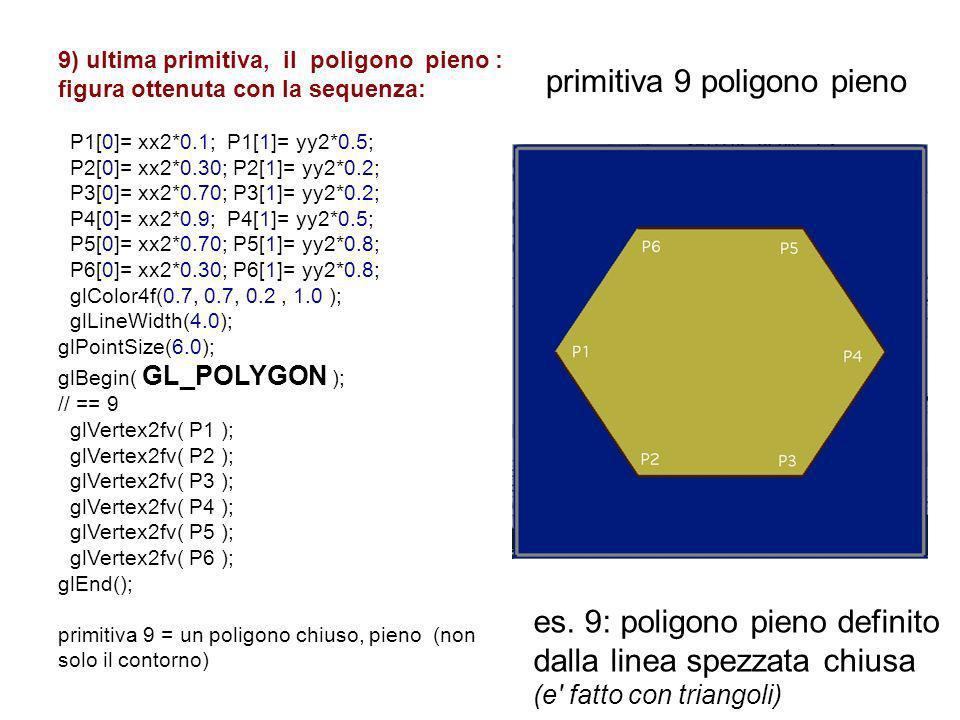 9) ultima primitiva, il poligono pieno : figura ottenuta con la sequenza: P1[0]= xx2*0.1; P1[1]= yy2*0.5; P2[0]= xx2*0.30; P2[1]= yy2*0.2; P3[0]= xx2*
