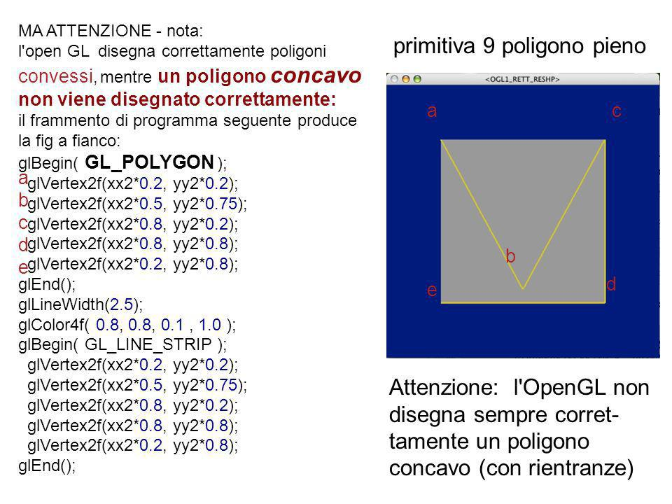 MA ATTENZIONE - nota: l'open GL disegna correttamente poligoni convessi, mentre un poligono concavo non viene disegnato correttamente: il frammento di