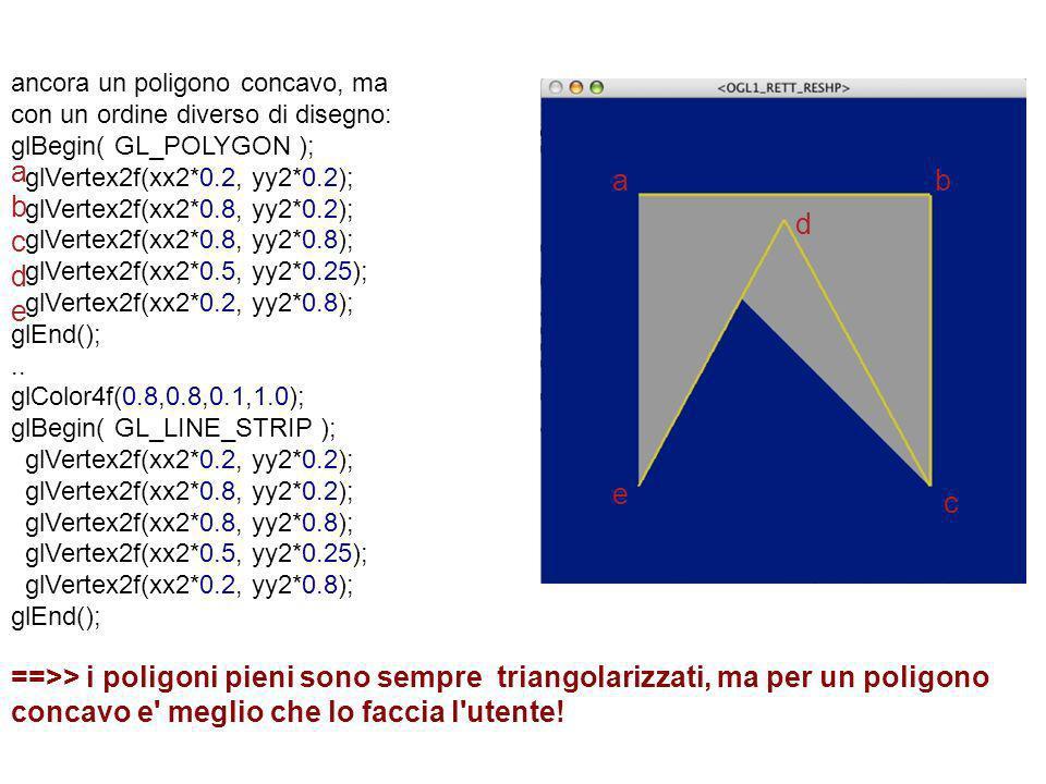 ancora un poligono concavo, ma con un ordine diverso di disegno: glBegin( GL_POLYGON ); glVertex2f(xx2*0.2, yy2*0.2); glVertex2f(xx2*0.8, yy2*0.2); gl