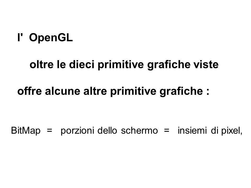 l' OpenGL oltre le dieci primitive grafiche viste offre alcune altre primitive grafiche : BitMap = porzioni dello schermo = insiemi di pixel,
