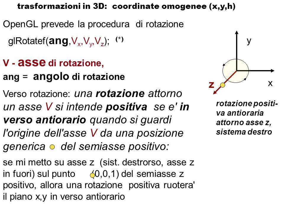 OpenGL prevede la procedura di rotazione glRotatef( ang,V x,V y,V z ); (*) V - asse di rotazione, ang = angolo di rotazione Verso rotazione: una rotaz