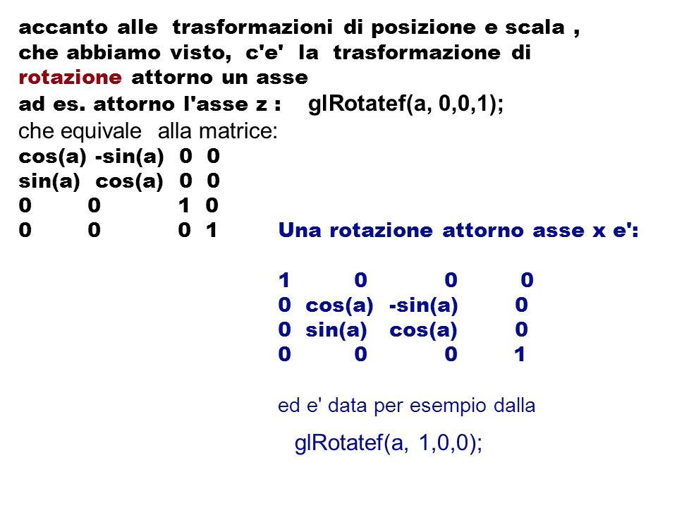 accanto alle trasformazioni di posizione e scala, che abbiamo visto, c'e' la trasformazione di rotazione attorno un asse ad es. attorno l'asse z : glR