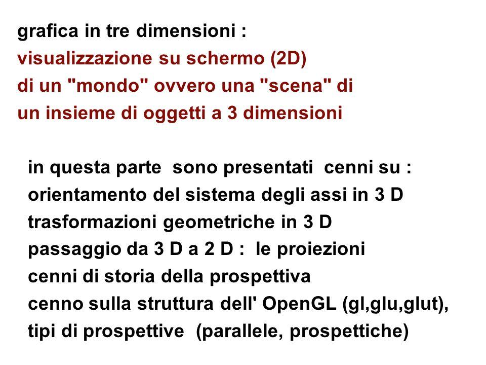 3 D - geometria, prospettive, OpenGL 3D glOrtho (xwinmin,xwinmax, ywinmin,ywinmax, distnear,distfar); attenzione: l asse z e orientato verso chi guarda, siamo su punto con z zero e stiamo guardando verso l asse z negativo; gli oggetti sono di solito messi lungo l asse z negativo; gli ultimi due parametri specificano due distanze (positive!) per i piani di clipping vicino e lontano da cui ho la posizione per gli oggetti; ad es.