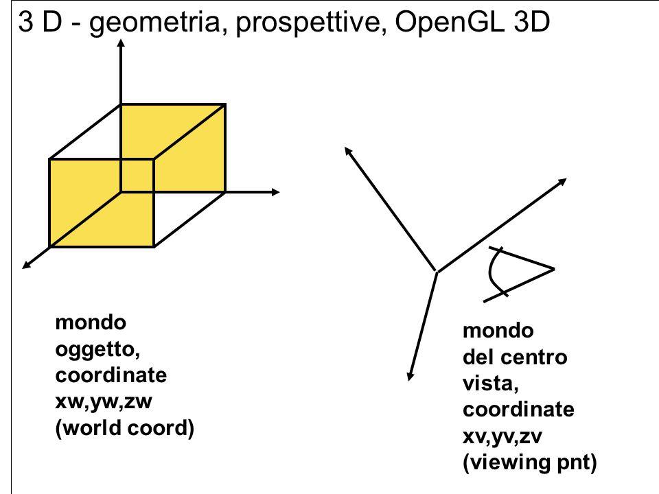 il passaggio dal piano 2D (visto finora) al 3D presenta subito un ambiguita che comporta una scelta di orientamento: in 2D, l orientamento degli assi ( coordinate x,y) e sempre (*) * asse delle ascisse x orientato a destra, e * asse delle ordinate y orientato verso l alto, nel caso dello spazio 3D sono usato due sistemi di riferimento in entrambi gli assi x e y sono orientati come usuale (colleghiamo l asse x con il pollice e l asse y con l indice), per l asse z abbiamo: * sistema destrorso abbiamo l asse z orientato verso fuori (mano destra: asse x=pollice, asse y= indice, asse z=medio) (verso l osservatore) * sistema sinistrorso: l asse z e orientato verso dentro (mano sinistra : asse x=pollice, asse y=indice, asse z=medio) (via dall osservatore) graficamente...