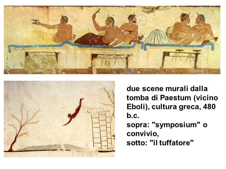 due scene murali dalla tomba di Paestum (vicino Eboli), cultura greca, 480 b.c. sopra: